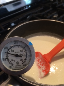 Bring the milk and cream mixture to a simmer at a temp of 180 degrees.